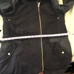black Coat Jackets & Coats - Black Denim and Faux Leather Jacket XL Quality